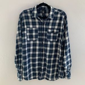 Volcom Blue & White Plaid Flannel XL